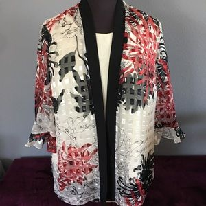 R&M Richards 3/4 sleeve Red/Black Floral Blouse
